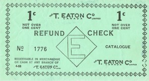 A sample of an Eaton's refund check